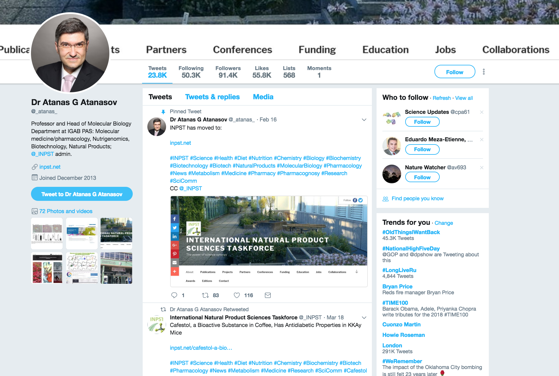 "The ""Top 25 Biotech Influencers to Watch on Twitter"" ranking by Disruptor Daily lists on 11th position Atanas G. Atanasov, INPST Founder and Executive Director"