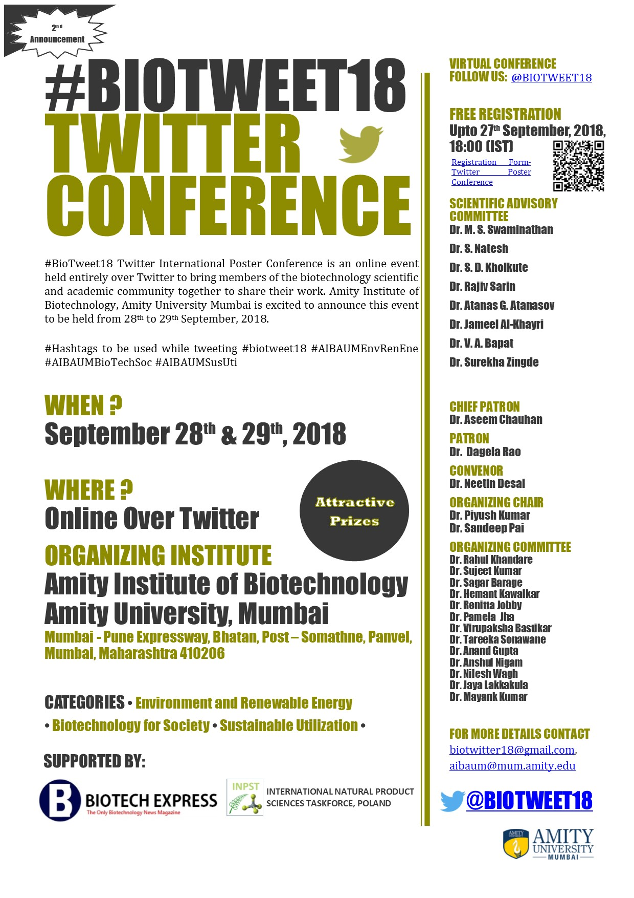 #BioTweet18 Twitter Conference (free registration, held entirely over Twitter, September 28-29, 2018)