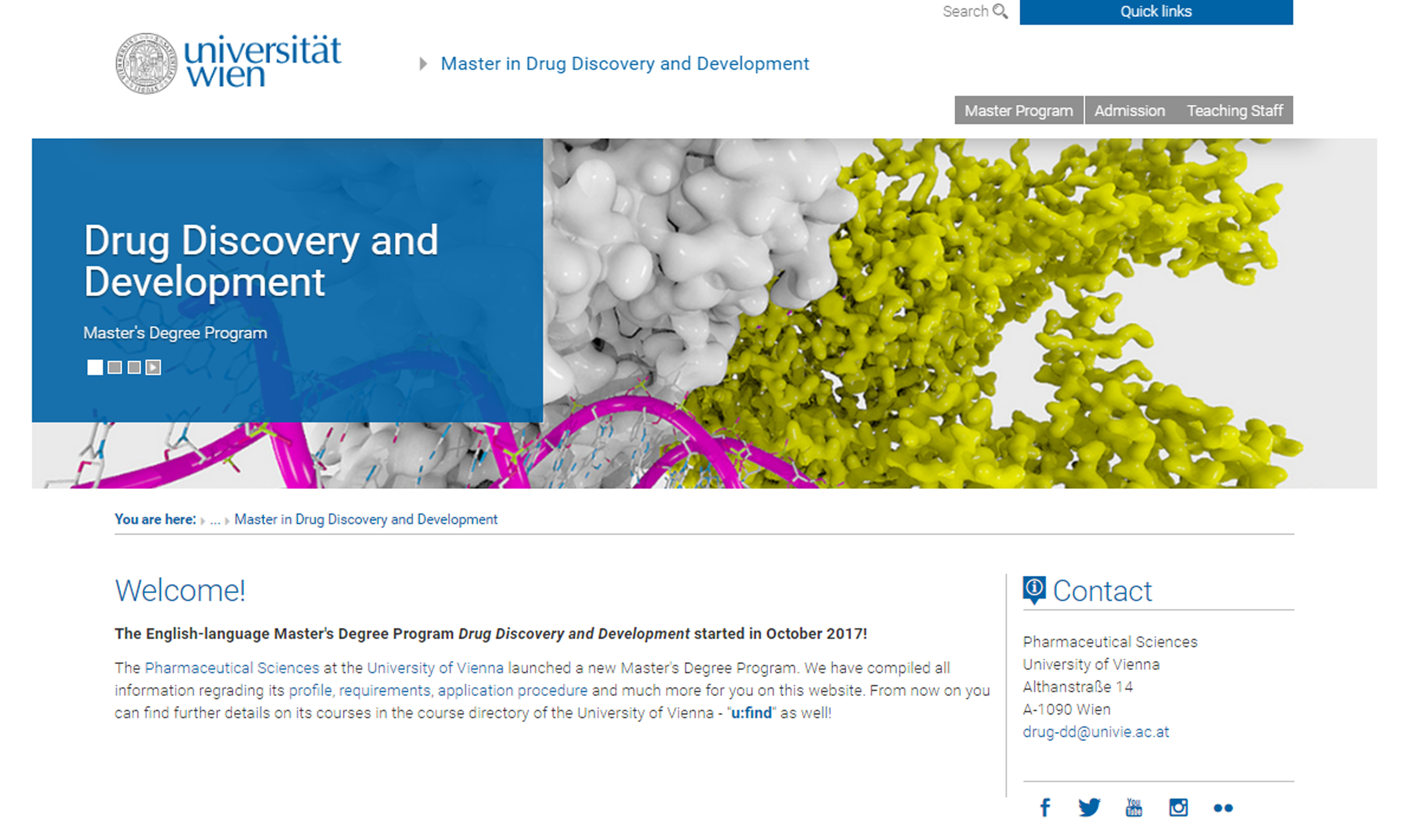 Masters Degree Program in Drug Discovery and Development at University of Vienna Austria