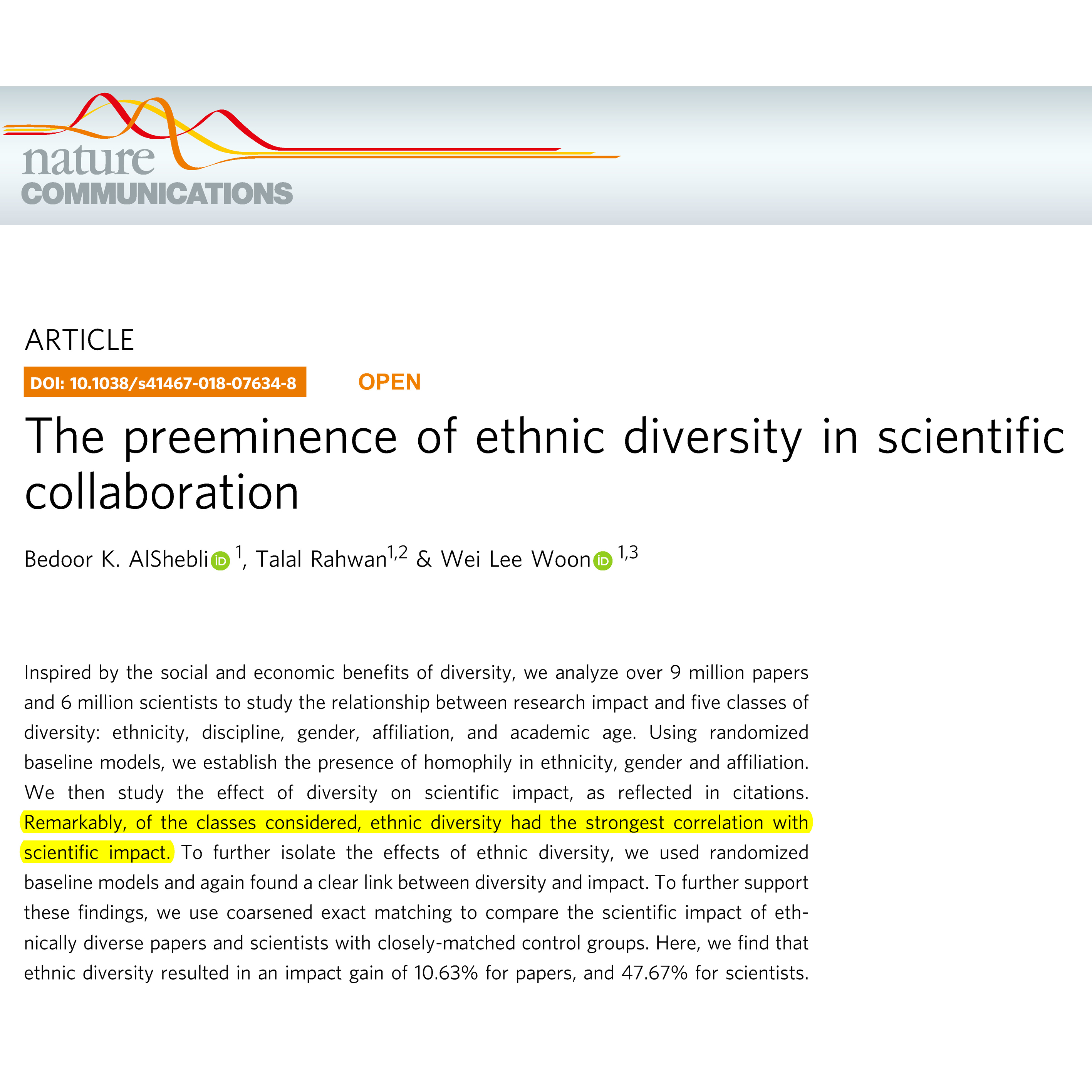 The preeminence of ethnic diversity in scientific