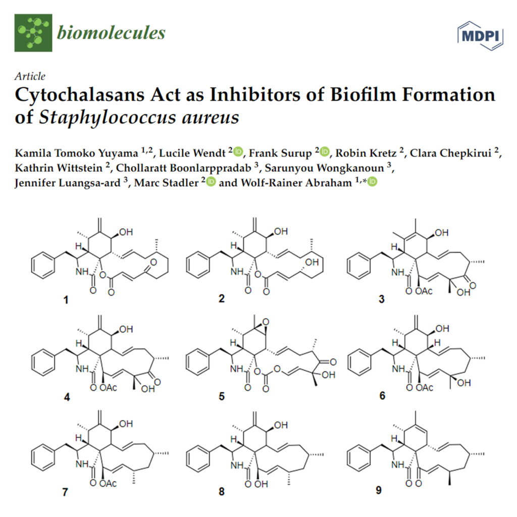 Cytochalasans Act as Inhibitors of Biofilm Formation of Staphylococcus aureus