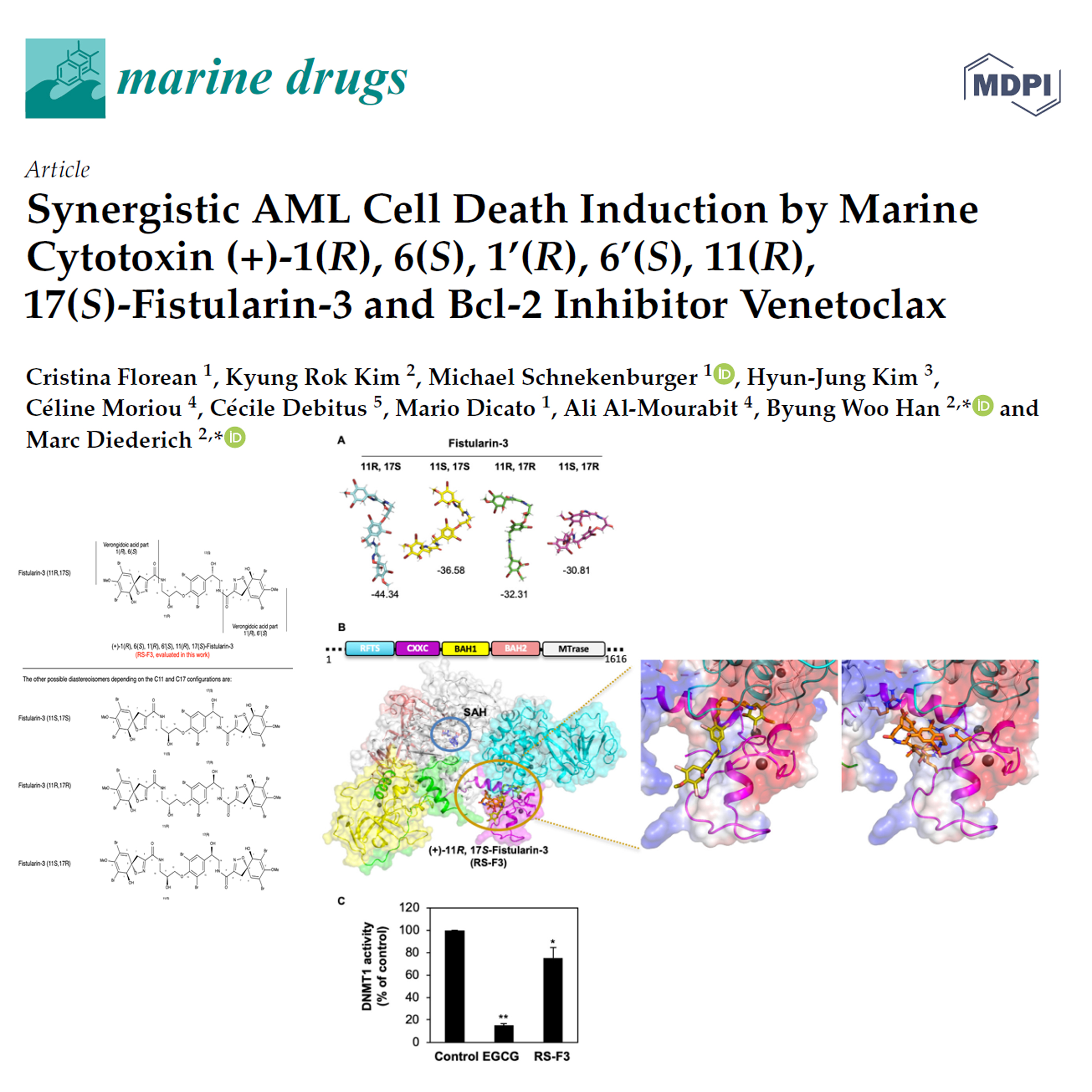 Synergistic AML Cell Death Induction by Marine Cytotoxin (+)-1(R), 6(S), 1'(R), 6'(S), 11(R), 17(S)-Fistularin-3 and Bcl-2 Inhibitor Venetoclax