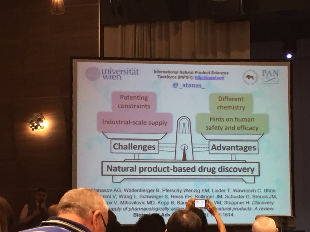 Lecture by @_atanas_ presenting challenges and advantages of natural product-based drug discovery. Photo by @noxthelion